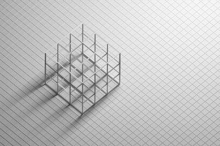 Abstract background with geometric primitive low poly shape cube wireframe. 3d illustration.