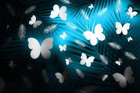 Tropical background with spiky leaves, feathers and butterflies on neon blue and black background. 3d illustration. Reklamní fotografie