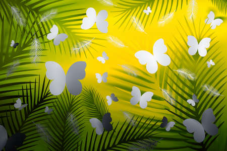 Tropical background with feathers and butterflies on neon yellow and green background. 3d illustration. Reklamní fotografie