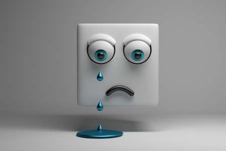 Concept illustration with crying character presented by cube with eyes tears and puddle of tears on white background. 3d illustration.