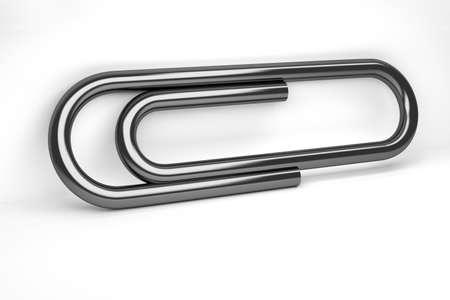 Large shiny black office paper clip on white background. 3d illustration.