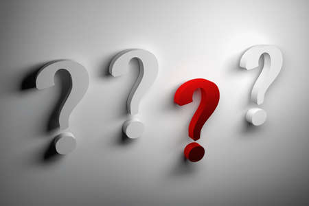 Four question marks and one red on white background. 3d illustration. Stockfoto