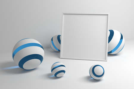 Mockup with empty blank frame for your design on white background with decorative abstract balls spheres. 3d illustration.