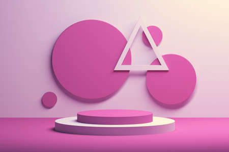 Composition with round and triangle shapes in white and pink colors. 3d illustration. Banco de Imagens