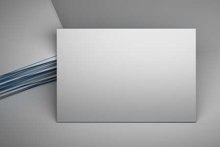 Mock up of large white blank business card on white background. 3d illustration.