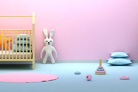 Kids slipping room with empty blank wall. Interior with cute rabbit with closed eyes, pillows, cradle, wooden rings. 3d illustration. Stock Photo