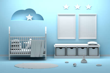 Mock up with two blank empty A4 frames. Newborn babe room interior with many decorative elements in blue and white colors. 3d illustration.