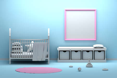 Large square pink frame hanging on a blue wall in kids babe children. Interior with many objects cradle, sitting bench, pillow, carpet, toys. 3d illustration.