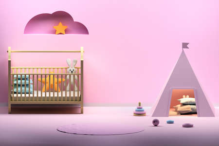 Kids room in pink colors with playing wigwam, cradle, cloud decoration and empty blank wall. 3d illustration. Stock Photo