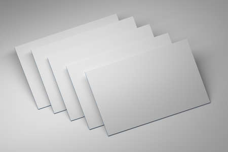 Mock up of five white blank business cards on white background. 3d illustration.
