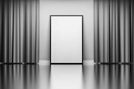 Presentation picture photo frame with empty blank canvas standing next to wall with wavy curtains over mirror reflective floor. Image in black and white colors. 3d illustration.