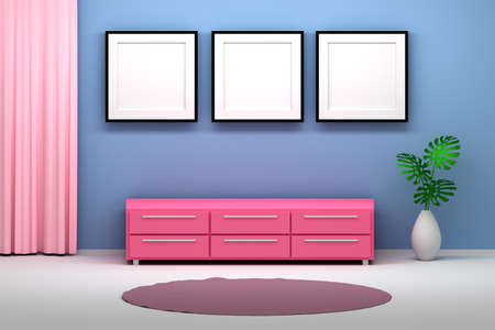 Interior with three empty blank photo frames. Room with pink cabinet, pink curtain, carpet and vase with monstera plant next to blue wall. 3d illustration. Stok Fotoğraf
