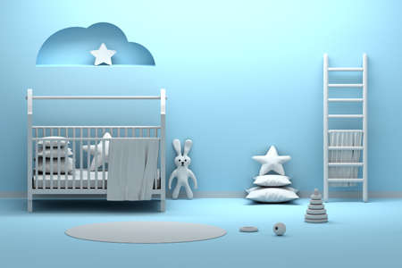 Newborn babe kids room interior with cradle, toys, fabric rabbit, pillow, ladder with towel standing next to blue wall. 3d illustration.