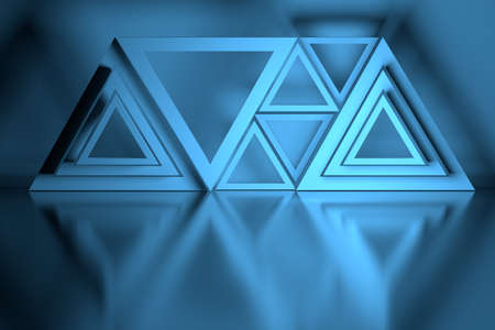 Blue composition with many triangle shapes arranged over mirror reflective surface. 3d illustration. Stock Photo