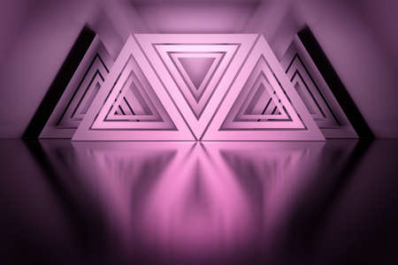 Pink composition with many triangle shapes arranged over mirror reflective surface. 3d illustration.