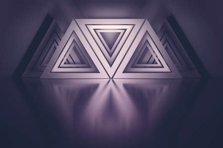 Composition with many repeating triangles over mirror reflective floor colored with dark magenta colors. 3d illustration. Stock Illustration - 133548206