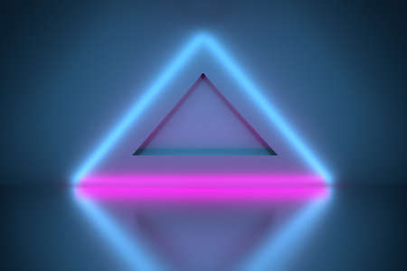 Composition with a neon glowing blue pink triangle shapes arranged over mirror reflective surface. 3d illustration. Stock Photo