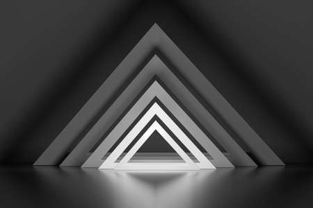 Composition with repeating perspective triangle shapes with glow effect in monochrome color. 3d illustration.