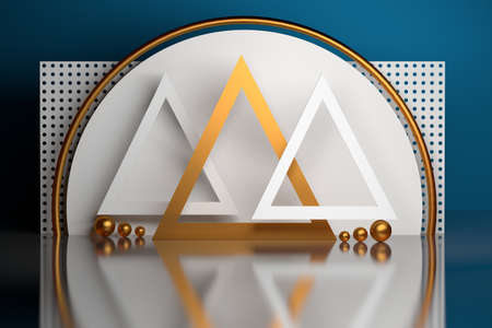 Composition with combination of golden and white triangles, balls, circles in white blue golden colors. 3d illustration. Stock Photo