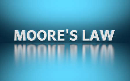 Word Moores law written in bold white letters on blue reflective background. 3d illustration.