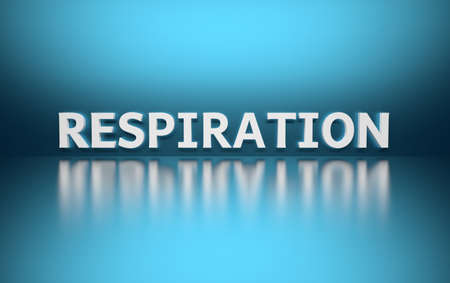 Word Respiration written in bold white letters on blue reflective background. 3d illustration. Stock Photo