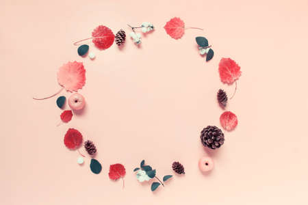 Circular round wreath made of autumn forest elements - berries, red leaves, wild apples and wooden pines cones arranged on pink background. Фото со стока