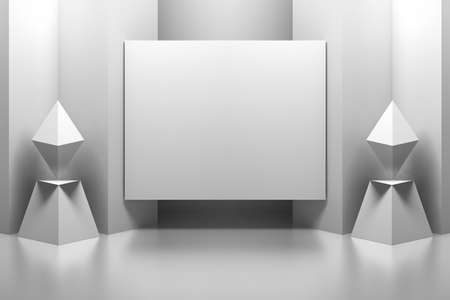Empty blank presentation panel frame mockup in an abstract geometric interior. 3d illustration.