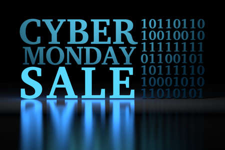 Large bold blue glowing words Cyber Monday Sale and stylized binary code on black mirror reflective background. 3d illustration.