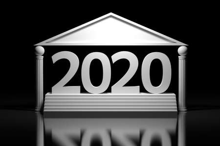 Large bold white 2020 new year date number standing on the stairs over mirror floor. Image in greek style with stylized pillars. 3d illustration.