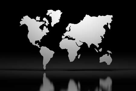White 3d world map outline over black mirror reflective surface. 3d illustration.