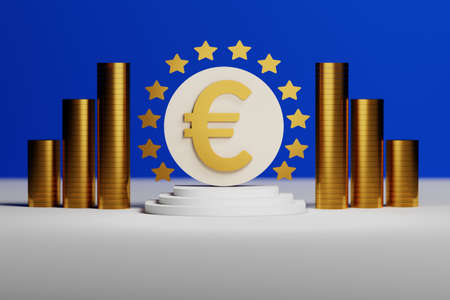 Large bold golden euro sign with stars on pedestal with stacks of golden coins. 3d illustration. Stockfoto