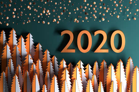 New Year 2020 greeting card with abstract forest and falling snow and large 2020 numbers on dark green background. 3d illustration. Stockfoto