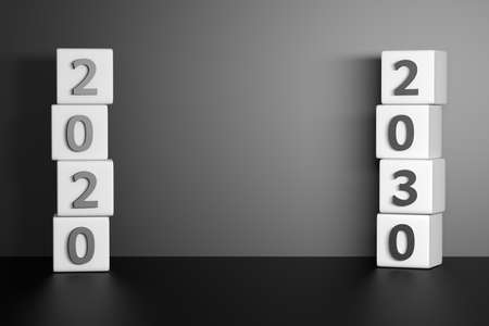 Two stacks of cubes with 2020 and 2030 year numbers. Mockup with copy blank space future forecast prediction. Stockfoto