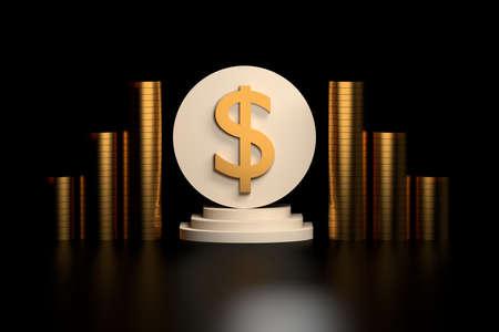 Large golden dollar sign on white pedestal with stacks of golden coins on black background. 3d illustration. Stockfoto