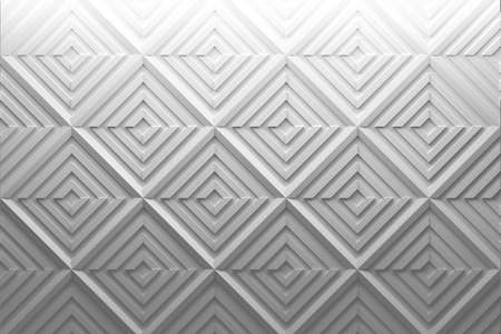 White simple 3d pattern with displaced repeating rotated low poly squares. 3d illustration.