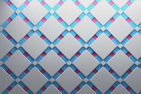 Multi-layered pattern surface with geometric low poly shapes, squares and diamonds in white, pink, blue colors. 3d illustration.