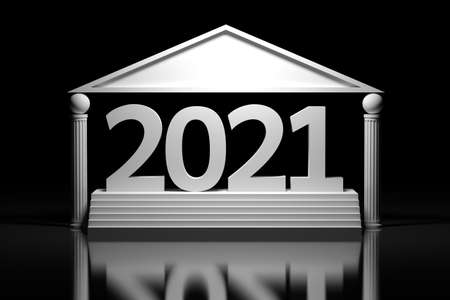 Large bold white New Year numbers 2021 standing on pedestal with stairs in greek style building on black backgound. 3d illustration.