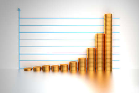 Concept of expopential financial growth shown with golden coins on the backgound of chart. 3d illustration.