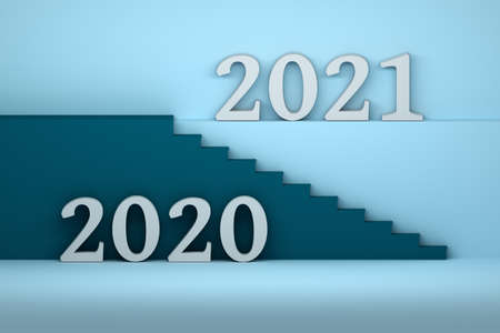 Way from the year 2020 to 2021. Composition with large bold 2020 and 2021 numbers and stairs in blue colors. 3d illustration. Stockfoto