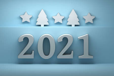 Year 2021 greeting card with bold numbers, stars and christmas trees on blue background. 3d illustration. Stockfoto