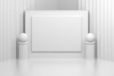 Abstract interior with presentation board and two pillars in white colors. 3d illustration. Banque d'images