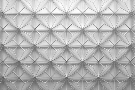White wireframe low poly pattern with pyramids, triangles geometric shapes. 3d illustration.