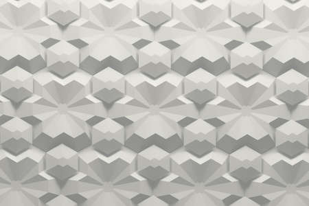 White pattern with complex low poly flower like and hexagon shapes. 3d illustration.