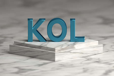 Bold blue letters KOL abbreviation of key opinion leader standing on marble pedestal.