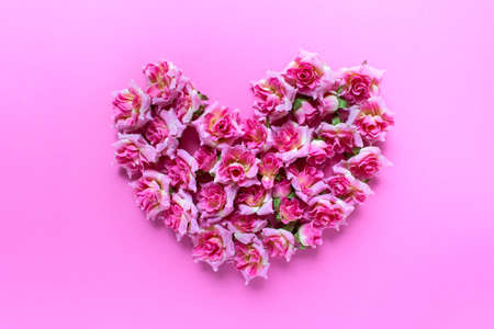 Romantic Valentines day greeting card with big heart made of small pink roses on pink background.