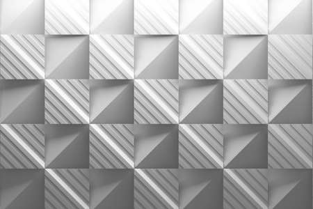 White pattern with striped squares and folded basic shapes with paper effect. 3d illustration.