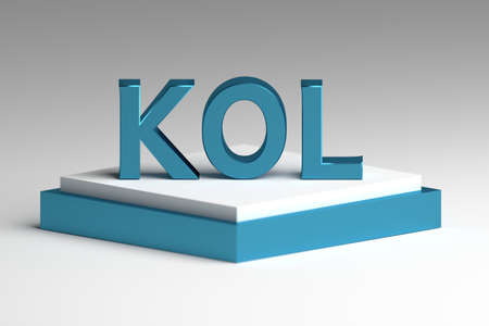 Bold blue letters KOL abbreviation of key opinion leader standing on white blue pedestal.