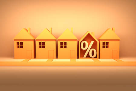 Concept of selling real estate or renting property with sign of percent off in vibrant yellow orange colors. 3d illustration.