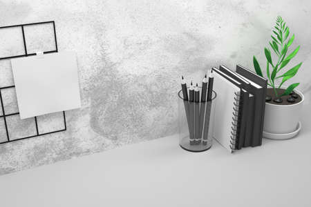 Composition with office work table with black books, spiral notebook, potted plant and white paper sheet. 3d illustration.