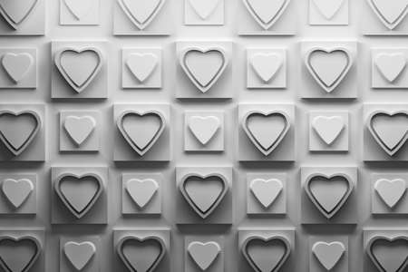 Black and white 3D pattern with repeating hearts on square shapes. 3d illustration.